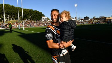 Benji Marshall with son Fox at  Leichhardt Oval for his 250th game.