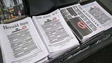 Newspaper front pages across all major media outlets on the first day of the press freedom campaign last year.