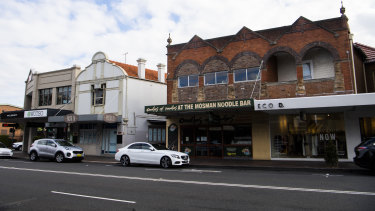 The Mosman strip that Woolworths is targeting for a mixed use development.