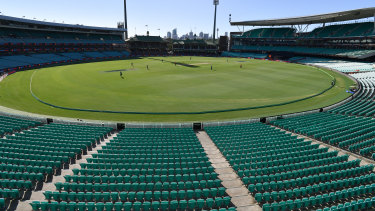Empty stands at the SCG.