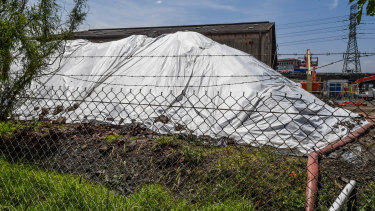 Contaminated soil on the West Gate Tunnel's construction site on New Street, South Kingsville.