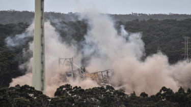 Alcoa's Anglesea power station was demolished in 2018 after it was closed in 2015.