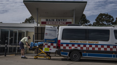 A patient being dropped off at Batemans Bay Hospital emergency department.