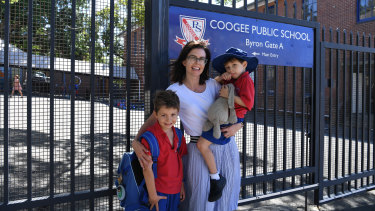 Catherine van der Veen with her sons Jonty, 7, and Darcy, 5, outside Coogee Public School.
