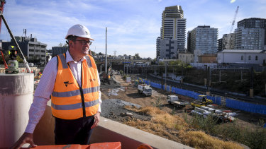 Premier Daniel Andrews visits the construction site at the southern end of the Metro tunnel.