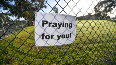 A sign outside St Basil's Aged Care, Fawkner on Friday.