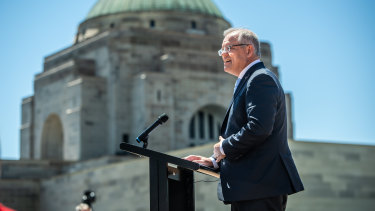 Prime Minister Scott Morrison speaks at the Australian War Memorial's concept design launch.