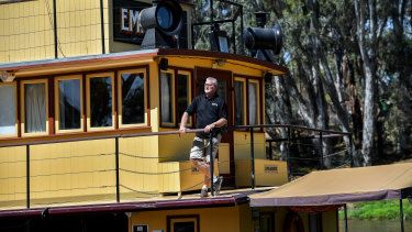 Managing director of Murray River Paddlesteamers, Rohan Burgess, on the PS Emmylou.