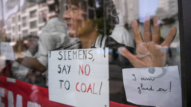 Protesters outside Siemens' office in Melbourne last month.