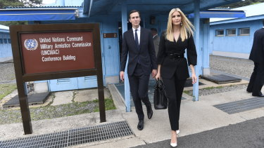 White House Senior Advisors Ivanka Trump and Jared Kushner, at the border village of Panmunjom in the Demilitarised Zone, South Korea.