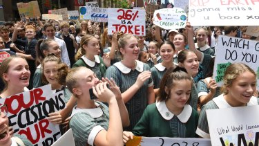 School students protest at Martin Place on Friday to urge more action on climate change.