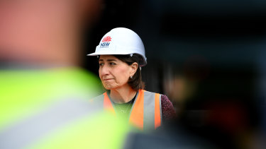 Gladys Berejiklian inspecting the M4 WestConnex tunnel today.