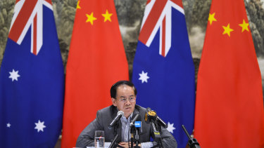 Chinese ambassador to Australia Cheng Jingye speaks to the media on Thursday.