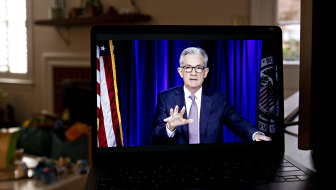 Jerome Powell during a virtual news conference after the Fed meeting concluded.