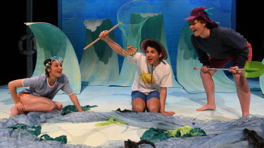 Magic Beach, from left, starringJade Fuda as Lucy,Alex Packard as Danny andKate Betcher as Toby ('not fish head') and staged by theState Theatre of Western Australia.