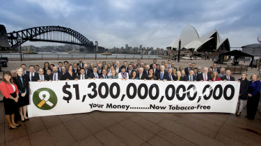 Princess Dina Mired of Jordan (far left), joined dozens of super fund CEOs to launch theVerified Tobacco-Free stamp.