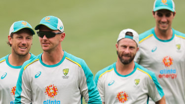 Josh Hazlewood, second from left, preparing for the first Test in Adelaide with teammates James Pattinson, Matthew Wade and Pat Cummins.