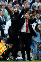 Ferguson celebrates during a clash with Manchester City in 2007.