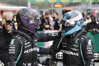 Mercedes driver Lewis Hamilton (left) qualified on pole but teammate Valterri Bottas (right) will take first place on the grid due to a penalty for Hamilton.