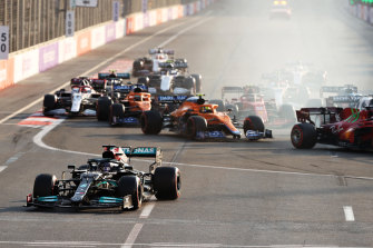 Lewis Hamilton misses the turn after the restart.