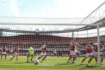 Arsenal's Eddie Nketiah scores late against Fulham at the Emirates.