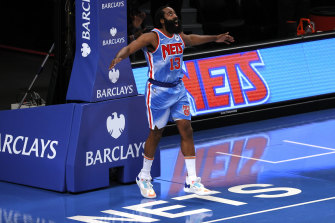 Harden made Nets history with a triple-double on debut for his new team.