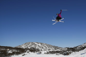 Olympic hopeful Mia Rennie, 15, skiing at Perisher.