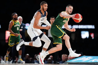 NBL players like Chris Goulding, right, may be pulled from NBL finals to compete in the Asia Cup.