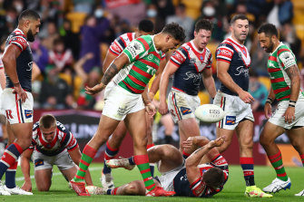 Latrell Mitchell of the Rabbitohs reacts after scoring against the Roosters.