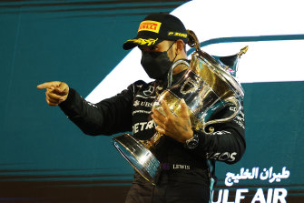 Lewis Hamilton after his victory in Bahrain.