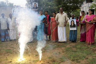 Villagers burst crackers to celebrate the victory of US Vice President-elect Kamala Harris in Painganadu a neighboring village of Thulasendrapuram, the hometown of Harris' maternal grandfather, south of Chennai, India.