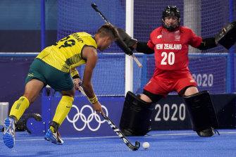 Tim Brand bears down on goal before scoring against New Zealand.