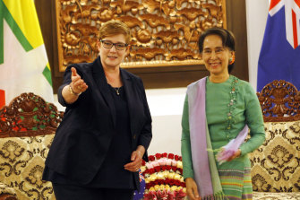 Foreign Affairs Minister Marise Payne meets with Myanmar leader Aung San Suu Kyi in Naypyitaw in 2018.