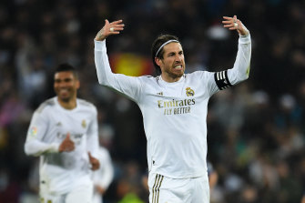 Real's Sergio Ramos celebrates after his side's win.