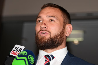 Jared Waerea-Hargreaves talks to the media after being found guilty of tripping.