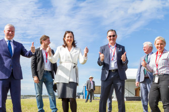 (Front, from left) Former Deputy Prime Minister Michael McCormack, Queensland Premier Annastacia Palaszczuk, Brisbane Airport parallel runway project director Paul Coughlan and former Minister for State Development, Tourism and Innovation Kate Jones celebrate the first flight on July 12, 2020.