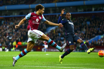 Rudy Gestede (right) in action for Aston Villa in 2015.