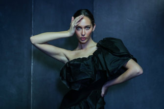 Model Rel Crawford in a design by Toni Maticevski, who will star in the Grand Showcase at VAMFF in March.