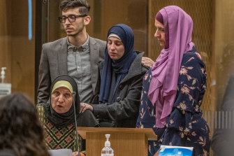 Maysoon Salama reads a victim impact statement during the sentencing hearing for Christchurch mosque gunman Brenton Tarrant at Christchurch High Court on Monday.