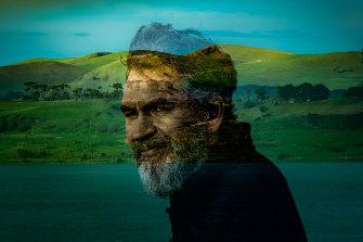 John Clarke at Lake Keilambete, with Mount Noorat in the background.