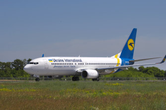 The actual Ukrainian Boeing 737-800  that crashed in January outside Tehran, seen here before take-off in Ukraine.
