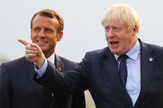 French President Emmanuel Macron welcomes British Prime Minister Boris Johnson to Biarritz in south-west France.