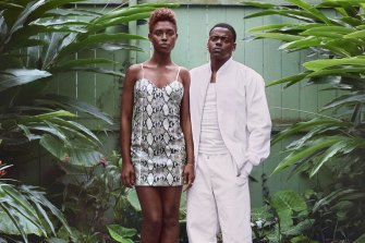 Jodie Turner-Smith and Daniel Kaluuya as Queen and Slim.