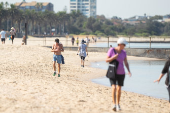 Visitors to Middle Park Beach on Wednesday despite its closure.
