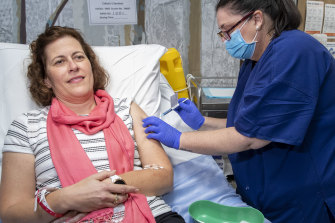 Helen Sullivan is one of two volunteers who were the first to be given a COVID-19 vaccine candidate developed by UQ.