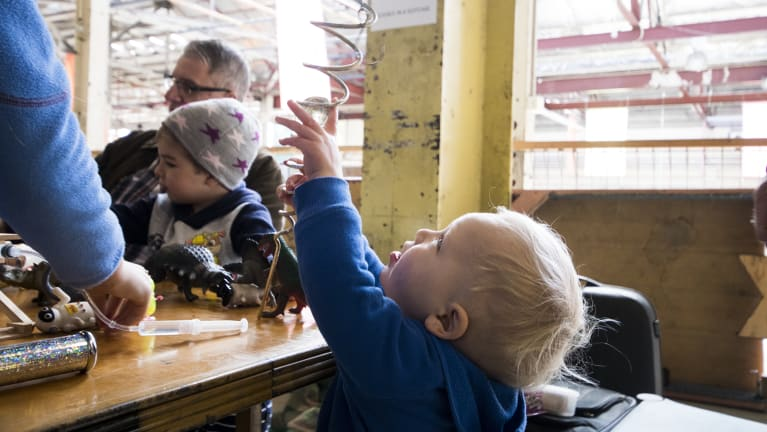 Matthew Parkinson, 3, gets hands on at Science in ACTion.