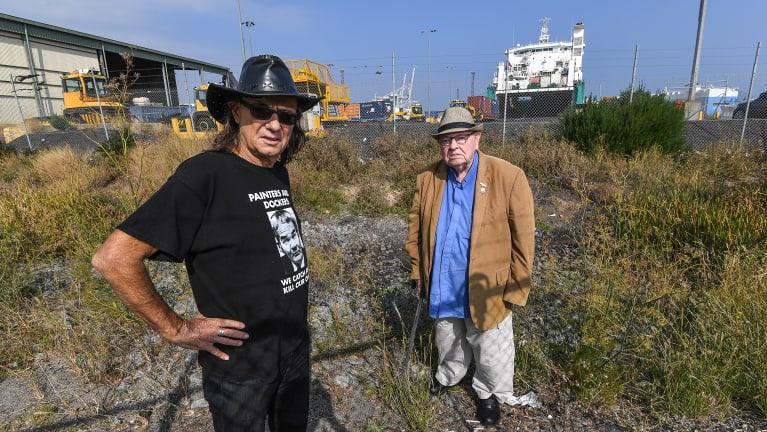 Paul Stewart and Fr Bob Maguire at Webb Dock.