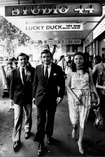 Yabsley, left, in 1984, with the then-NSW Liberal leader Nick Greiner and his wife Kathryn.