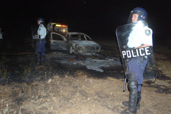 One of the cars torched during the 2005 New Year's Eve  incident.