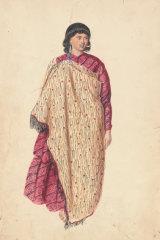 Joseph Jenner Merrett,Māori girl in cloak,1845, pencil, watercolour,National Library of Australia, Canberra,Rex Nan Kivell Collection.